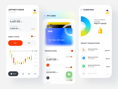 Financial Mobile App design application income spending balance finance analytics credit score overview transactions credit card card ux ui minimal clean ui banking dashboard banking app datavisualisation candlestick mobile app