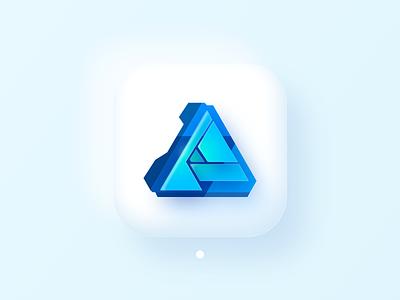 Affinity Designer (Big Sur Icon) icon product fluent glass branding soft design 3d bigsur interface macos affinity designer ui illustration ios14 skeuomorph neumorph apple logo
