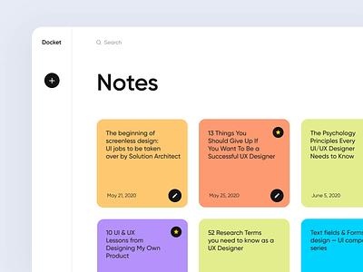 Docket note (Side menu) webdesign app design micro interaction web app application project desktop app to do list clean ui component side menu design minimal note sticky note motion animation dashboard ux ui