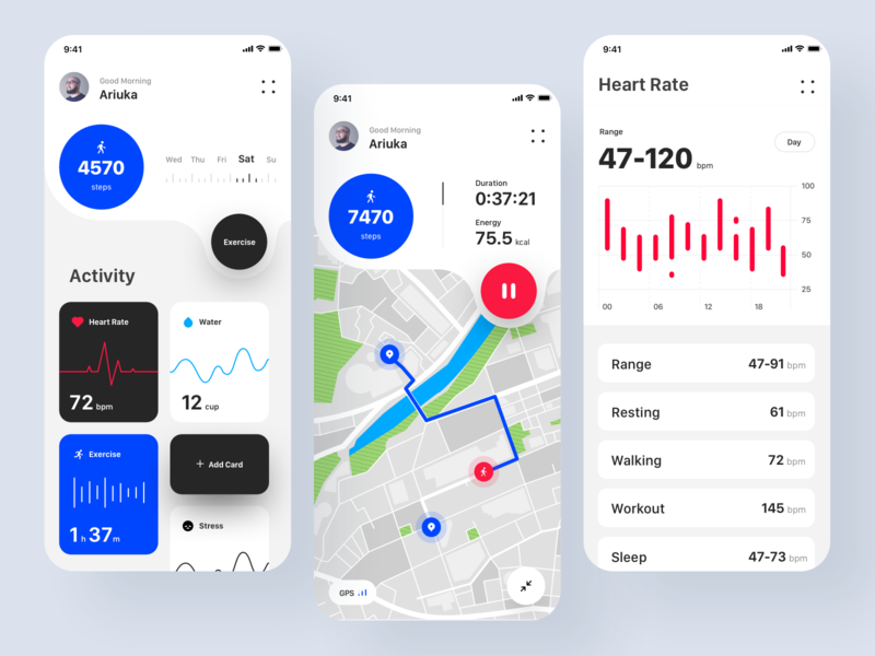 Health Track app health app ios ui design ux design inspiration design app interface minimal clean ui mobile app tracking app health application app ux ui