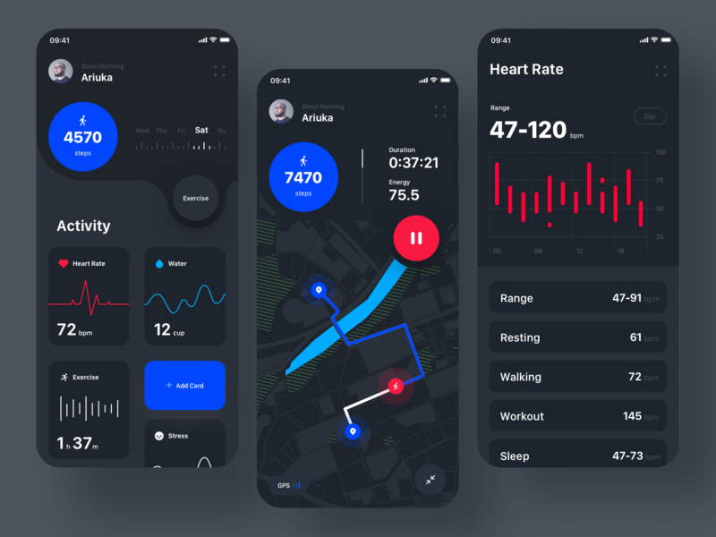 Health Track app V2 (Dark version) health tracker mobile design application app health app dark mode dark app dark ui inspiration clean ui minimal flat design user experience user interface ux ui layout exploration layout
