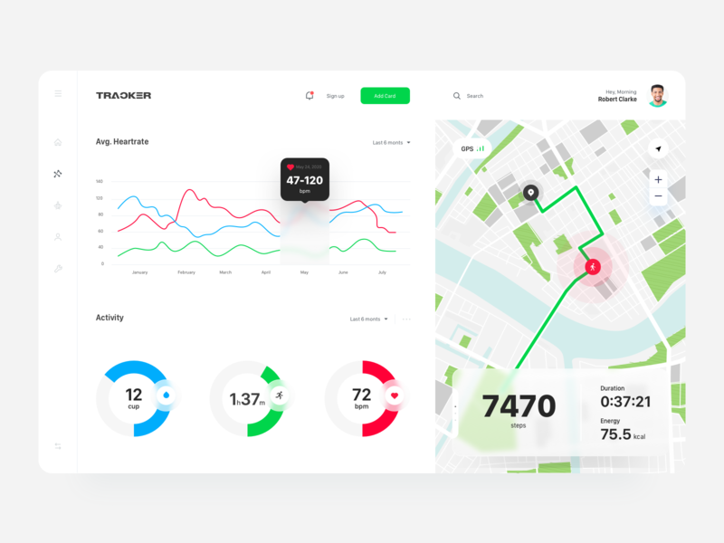 Health Track web app graphic ios mobile app heartbeat exercise water dashboard design app interface inspiration web application application minimal design clean ui tracker health app web design ux ui dashboard