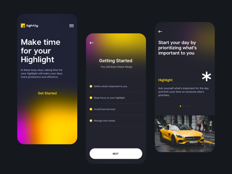 Highlight app blurred background time management inspiration self improvement app design ios design todoist highlight appliction app minimal clean ui uxdesign uidesign ux ui
