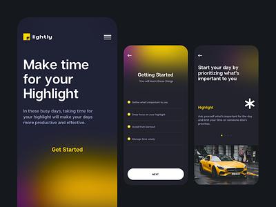 Highlight app blurred background time management inspiration self improvement app design ios design todoist highlight appliction app minimal clean ui uxdesign uidesign ux ui