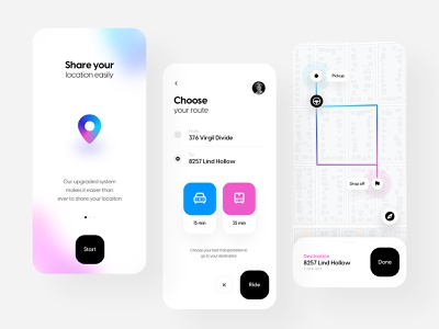 Riding app app design riding app flat mobile app clean branding design mobile design ios share route minimal clean ui ux design ui design application app ride ux uiux