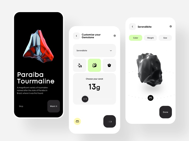 Gemstone Discovery app uiux mobile app customize buy sell ecommerce 360 view minimalist clean ui ios application app 3d jewelry gemstones userexperience userinterface exploration ux ui