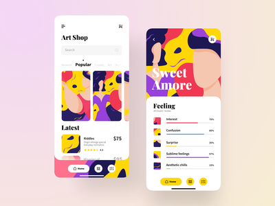 Visual Arts eCommerce App illustration art lovely visual arts characters interfacedesign ecommerce design ecommerce app art app app uiux ui