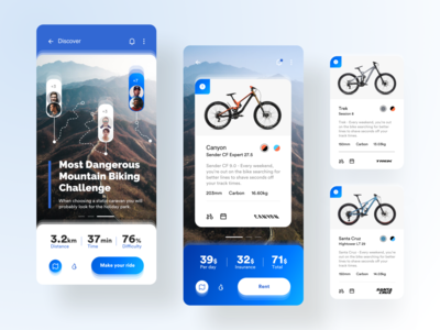 Mountain Bike Rental App outdoor mobile application mobile app design mobile app mobile design uidesign uiux ui bike rental rental app rent bikeshop downhill mountain biking mountain bike bike