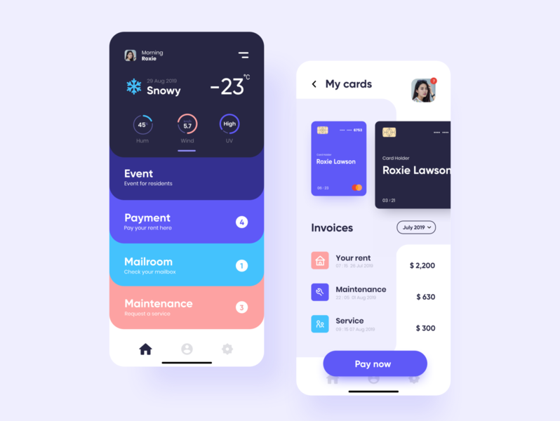 My Resident app  (Home & Payment screen) resident apartments payment cards flat weather event mailroom package mantenance invoice ui uiux ux uiuxdesign mobile ui app resident app myresident