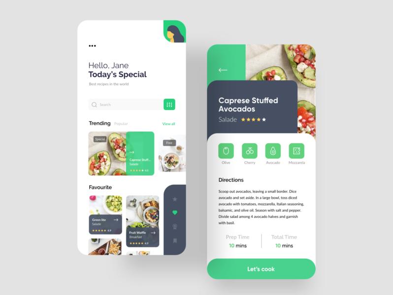 Food Recipe app clean ui redesign userinterface uidesign ux ui special recipe mobile app food app ui food app clean design cook clean branding avocado
