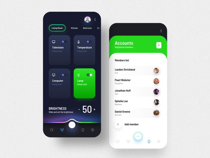 Smart Home app dark ui clean ui brightness members smarthome user interface design application app mobile app ux ui