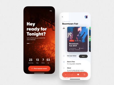 VIP Event app (login & individual screen)