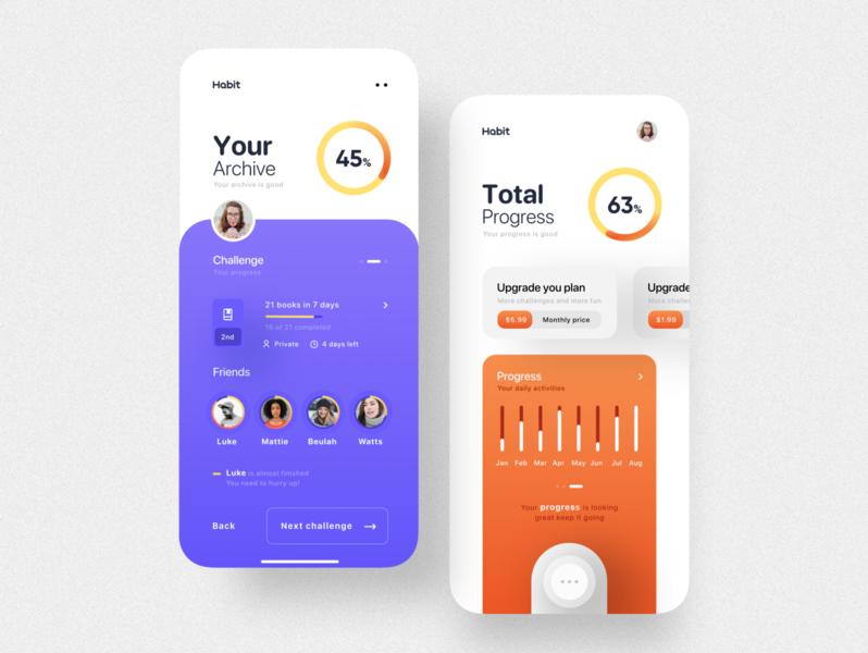 Habit app UI design application design clean ui user interface habits habit progress books challenge ux ui mobile app mobile ui application app