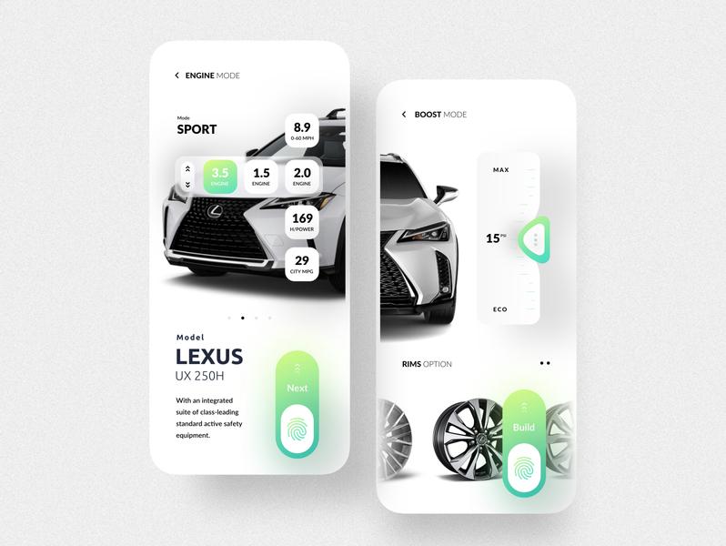 Car Service app UI Concept lexus boost max eco design uxui ux clean ui ui clean service car mobile ui mobile app application design application ui application app