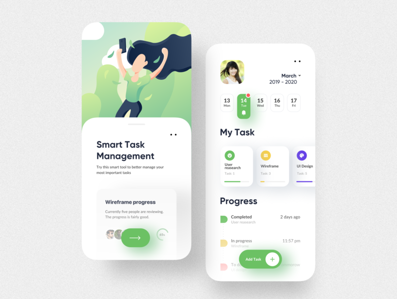 Smart Task Management app UI design app design mobile app mobile ui ux ui calendar task app clean ui flat illustrations application design application ui app task list task manager