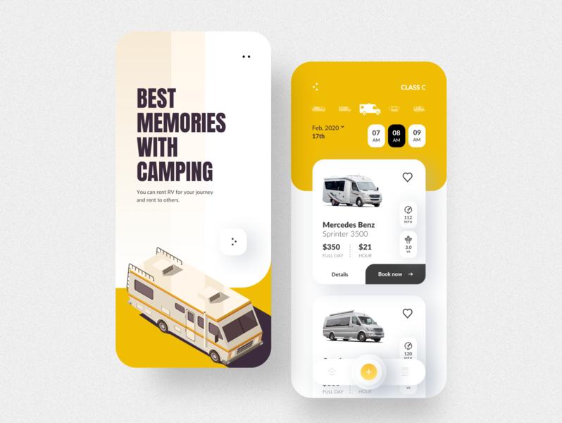 RV Rental app UI rvrental rv user interface design app design applications camping illustration rental app rental clean ui mobile app mobile app design application app uiux ux ui
