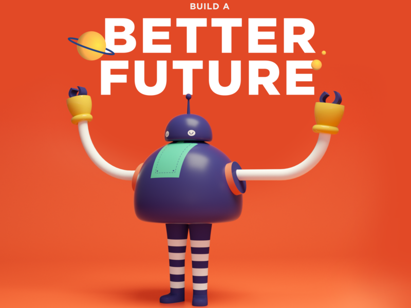 Build a better future character characterdesign startup hackathon hack robot mexico 3d illustration
