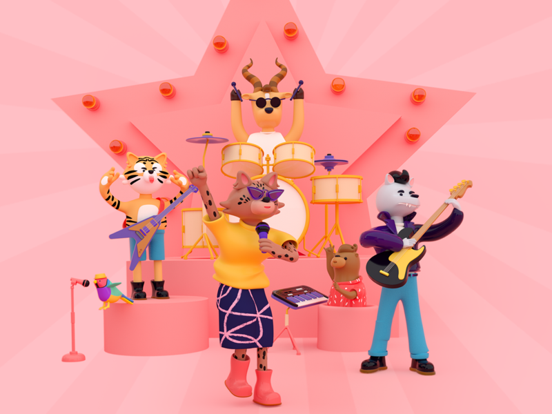 Introducing The (almost) Extincts⚡ character design bass drummer lynx addax tiger wolf wild life wild cat wild rock band rock and roll rock animals design branding 3d illustration