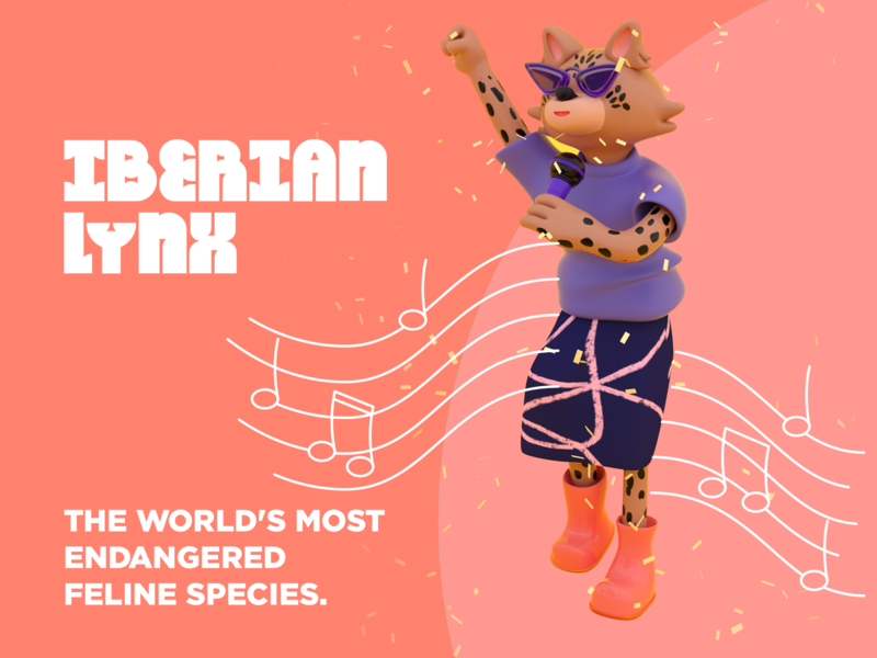 The (almost) Extincts  - Iberian Lynxx girl power female character rock and roll illustrations singer character design 3d illustration 3d art wild cat cat octanerender wildlife branding 3d illustration