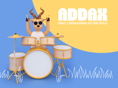 Addax -  Only 3 remaining in the wild character design octane render wild life design branding art music player rock n roll rock band live music concert 3d art 3d illustration drummer goat animal wild animal addax 3d illustration