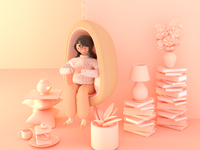 Peach Stay in character stay in peach 3d illustration 3d illustration illustrator