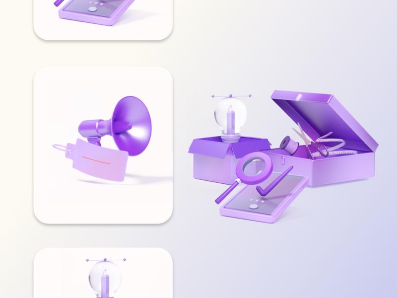3D ICON SET product design marketing digital marketing design ui branding 3d illustration