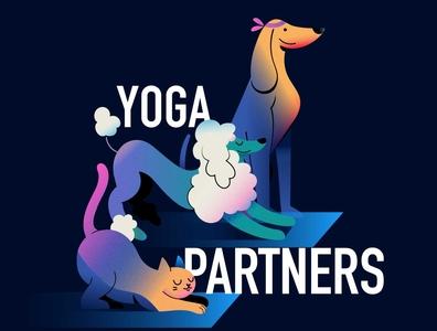 Yoga partners poodle yoga cat pets branding color illustrator gradients vector dog design illustration