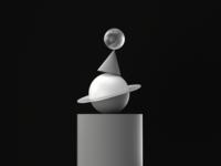 Black and white totem design 3d illustration