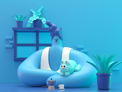 Blue blue coffee cat cinema4d 3d illustration