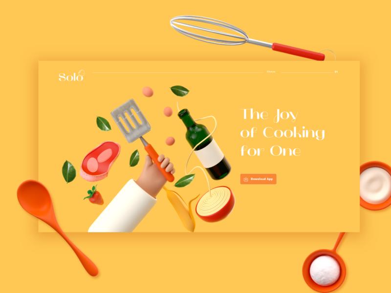 Solo App Landing Page app design app ui cinema4d 3d illustration