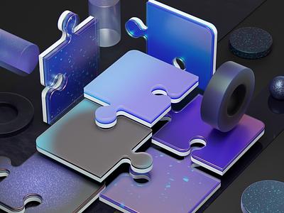 Exploración de materiales y luz 3dart puzzl blue cinema4d 3d illustration