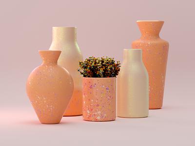 Forgotten & unfinished personal project ceramics flowers flower vase pottery cinema4d 3d illustration