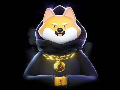 Snoop Doge crypto art shibainu nftart eth crypto dogecoin dog 3d illustration