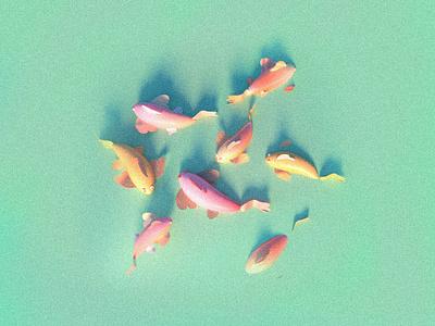 Koi fish grains noise flat koifish fish 3d illustration