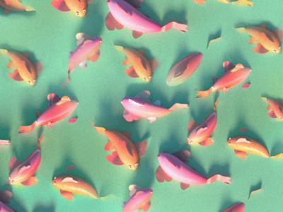 Koi fish pattern flat 3d dailypattern pattern pond koifish japan fish flat  design flat 3d illustration