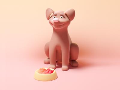 Dog food design pink puppy petlover diet food dog pet illustration