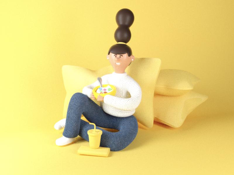 Yellow! pijama character woman tv sleep restfull rest girl branding illustration