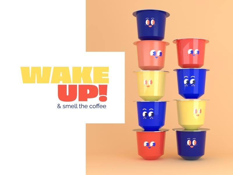 Coffee pods coffee logo coffeepods nespresso coffee logo mexico branding 3d illustration