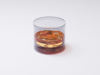 Whiskey on the rocks, render