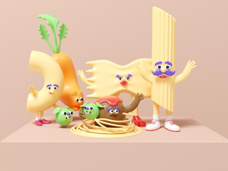 Festa! spaghetti meatball character desgin food branding pasta italian food 3d illustration