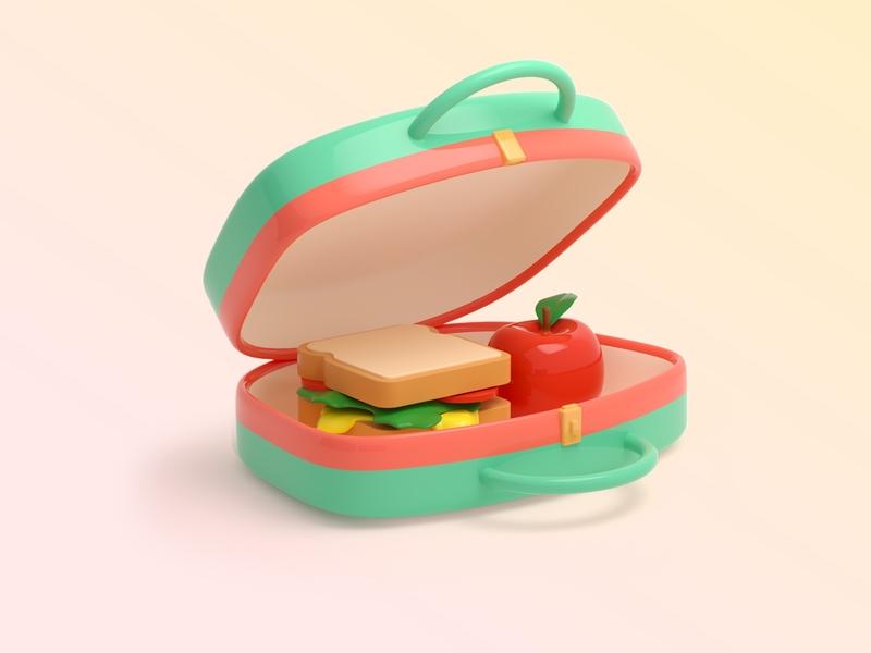 Lunchbox sandwich food lunchbox icon 3d illustration