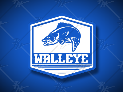 Walleye Badge design fishing t-shirt design walleye fishing