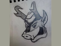 Vintage Style Pronghorn Antelope Sketch