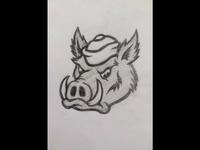Vintage Style Razorback Hog Sketch
