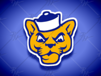 Vintage Style Pitt Panthers Mascot (Classic Colors Flipped)