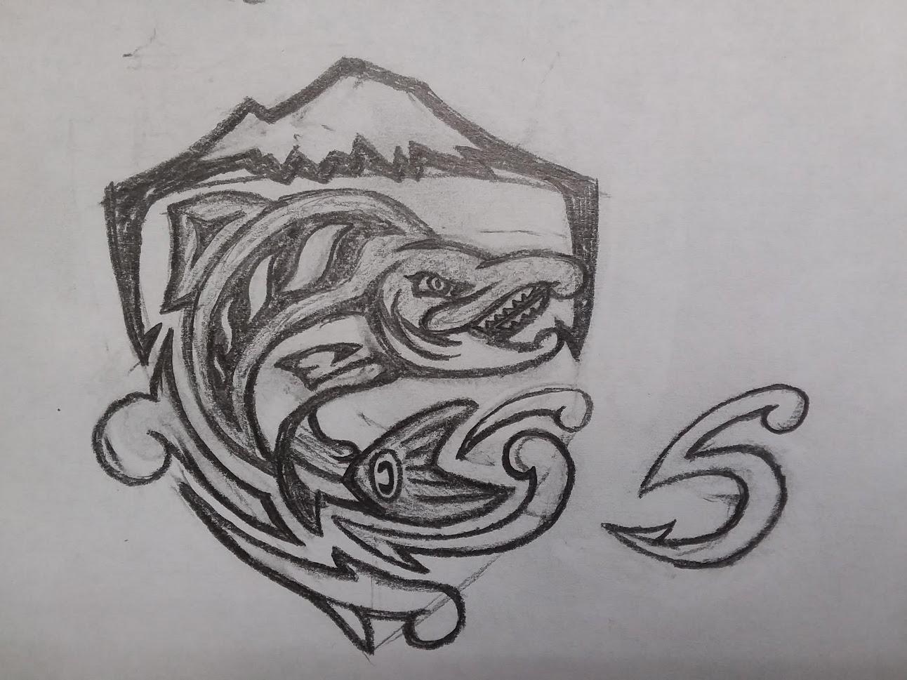 Seattle Sockeyes Concept Sketch - Shield / S sketch nhl seattle seattle salmon hockey nhl design logo mascot athletics sports