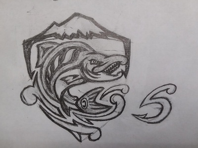 Seattle Sockeyes Concept Sketch - Shield / S
