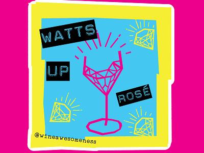 Watts up wine Label package design label wine rose wattup wine bottle wine branding wine label wine logo