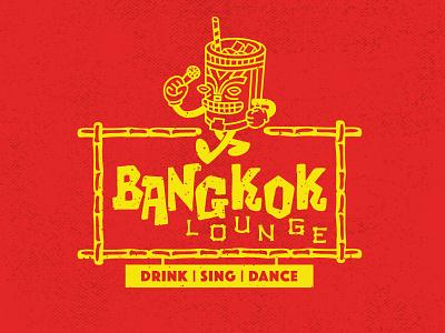 Bangkok Lounge Logo retro logo branding charcter design retro lounge bangkok dance sing drink bar karaoke tiki tiki bar