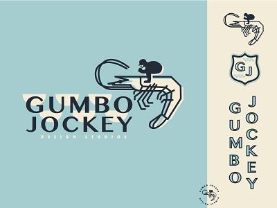 Gumbo Jockey branding logo design agency design studio designer logo branding shrimp jockey gumbo